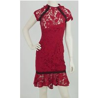Image of Paper Dolls Size: 8 Red/Black Knee Length Dress
