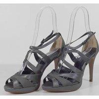 Image of Monsoon Grey Satin Strappy Stiletto Sandals Size 4 / 37