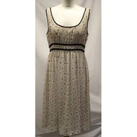 Image of Adrianna Papell Size 12 Cream & Black Patterned Sleeveless Dress