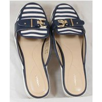 Image of Land's End, size 6.5/40 navy & white striped mules