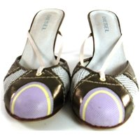 Image of Diesel Size 5/38 Cream with Gold and Pink Detailing Heeled Mules