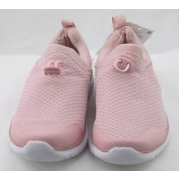 Image of NWOT M&S Kids, size 2/34.5 pink fabric slip on trainers