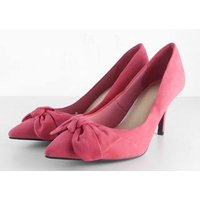 Image of NWOT M&S, size 7 pink court shoes with bow feature