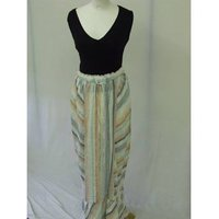 Image of Marks and Spencer 10 rainbow multi colour striped linen long maxi skirt loose lightweight beach