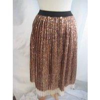 Image of BNWT Top Shop Size 10 Metallic Bronze Sequin Pleated Skirt with Net Hem