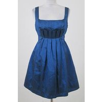 Image of Heaven size 12 blue black pleated bodice short cocktail dress