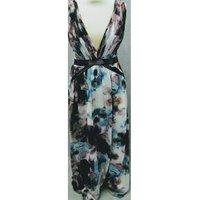 Image of Little Mistress pink/blue plunge neck maxi dress size 12 Little Mistress - Size: 12 - Multi-coloured - Long dress