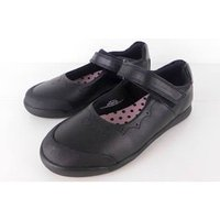 NWOT Marks & Spencer School Girls Mary Jane Style  Black Leather Shoes Size 12.1/2
