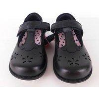 NWOT Marks & Spencer School Girls Mary Jane Style  Black Leather Shoes Size 8