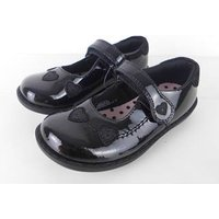 NWOT Marks & Spencer School Girls Mary Jane Style  Black Leather Shoes Size 13