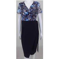Image of BNWT Paper Dolls London size 8 black blue white purple lace bodice wrap dress