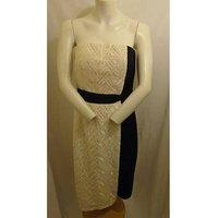 Image of BNWT LITTLE MISTRESS CREAM/BLACK DRESS SIZE 12 Little Mistress - Size: 12 - Cream / ivory - Evening
