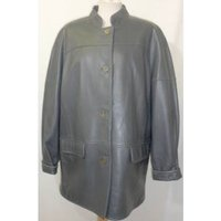 Image of Reward London Size 12 Grey Leather Jacket