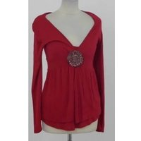 Image of Monsoon size 8 red bead and sequin embellished combination top