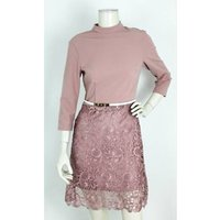 Image of Little Mistress Fitted Lace Paper Dolls Dress Rose Pink Size: 8
