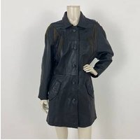 Image of Genuine Leather Coat Black Size: L