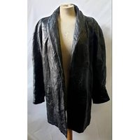 Image of Italian Stone Design - Genuine leather coat - Black - Size: M