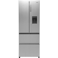 Haier HB16WMAA Slim American-Style Freestanding 70/30 Fridge Freezer with Water Dispenser, A+ Energy Rating, 70cm Wide, Stainless Steel