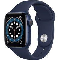 Apple Watch Series 6 GPS, 40mm Blue Aluminium Case with Deep Navy Sport Band - Regular