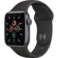 Apple Watch SE GPS, 40mm Space Grey Aluminium Case with Black Sport Band - Regular