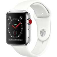 Apple Watch Series 3 38mm Stainless Steel Case with Soft Sport Band (White)