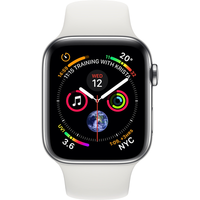 Apple Watch Series 4 44 mm (GPS+Cellular) Stainless Steel Case with White Sport Band