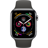 Apple Watch Series 4 44 mm (GPS+Cellular) Space Black Stainless Steel Case with Black Sport Band