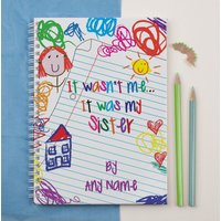 Personalised Notebook - It was my Sister Scribble - Sister Gifts