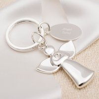 Engraved Guardian Angel Silver-Plated Key Ring - Key Ring Gifts
