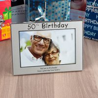 Personalised '50th Birthday' Silver Photo Frame