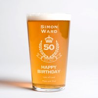 Personalised Pint Glass - 50th Birthday Crest