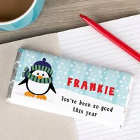 Personalised Chocolate Bar - Snow Penguin - Snow Gifts