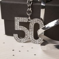 Crystal Keyring - 50th Birthday