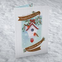 Personalised Christmas Card - Daughter & Son In Law Robin House - Daughter Gifts