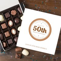 Personalised Belgian Chocolates - 50th Anniversary