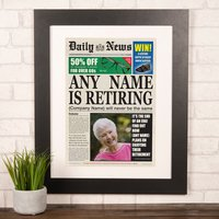 Photo Upload Spoof Newspaper Print - Retirement - Newspaper Gifts