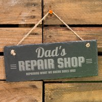 Personalised Hanging Slate Sign - Repair Shop - Shop Gifts