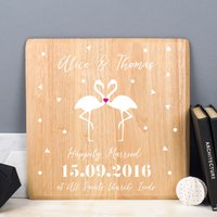 Personalised Wooden Couple Print - Flamingo