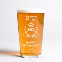 Personalised Pint Glass - 60th Birthday Crest
