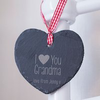 Engraved Heart-Shaped Slate Hanging Keepsake - Grandma