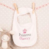 Personalised White Baby Bib - Princess