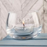 Personalised Glass Candle Holder - I Miss You... - Candle Gifts