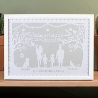 Personalised Papercut Framed Print - Family Silhouette - Decorations Gifts