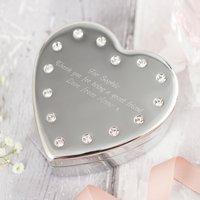 Engraved Diamanté Heart-Shaped Jewellery Box - Jewellery Box Gifts