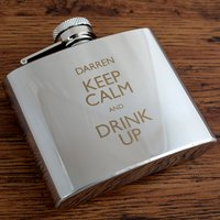 Image of Engraved Stainless Steel Hip Flask - Keep Calm and Drink Up