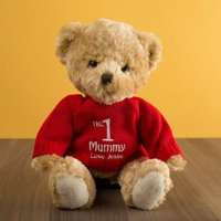 Personalised Thomas Bear With Red Jumper - No.1 Mummy - Thomas Gifts