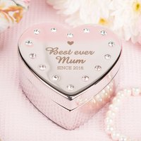 Engraved Diamanté Heart-Shaped Jewellery Box - Best Ever Mum - Jewellery Box Gifts