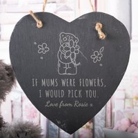 Personalised Medium Me to You Hanging Heart Slate - If Mums Were Flowers