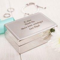Engraved Silver Rectangular Beaded Jewellery Box - Jewellery Box Gifts