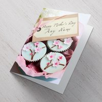 Personalised Mother's Day Card - Flowery Cupcakes - Cupcakes Gifts
